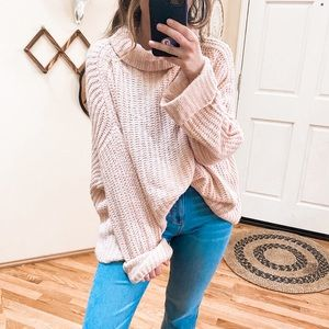 Leith Blush Pink Oversized Knit Sweater